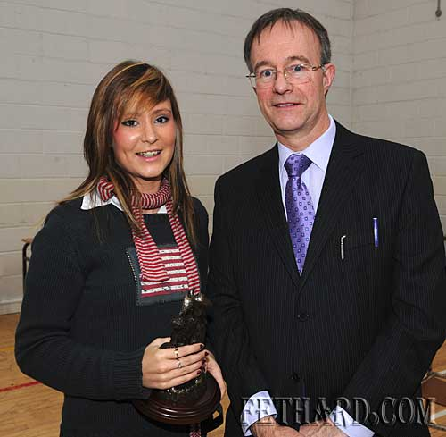 Alannah Browne, who received the Best Overall Leaving Cert Result, photographed with school principal Mr Ernan Britton.