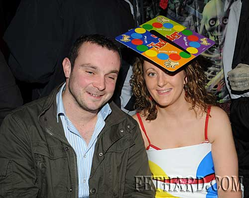 Photographed at the Halloween Party at Lonergan's Bar are Maurice Hickey and Marguerite Ryan
