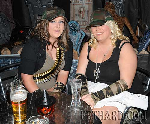 Photographed at the Halloween Party at Lonergan's Bar are L to R: Rebecca O'Connell and Leanne Hickey