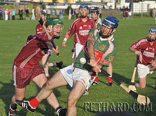 Gary Fitzgerald (Ballingarry) attempting to block down Eoin Kelly (Mullinahone) in their senior hurling championship match played in Fethard last Saturday