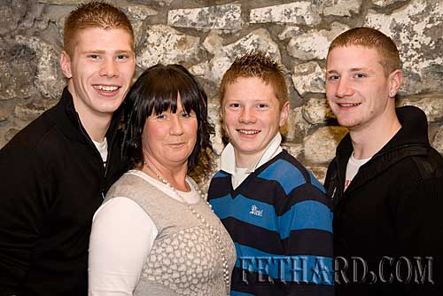 Hilda Laslett photographed with her three sons L to R: Ryan who was celebrating his 18th birthday, Ashley and Wayne.