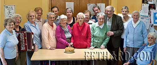 The Gleeson twins from Knockelly celebrated their 70th birthday with friends at Fethard & Killusty District Day Care Centre last week. Photographed on the occasion are L to R: Mary Harrington, Pauline Morrissey, Margaret Croke, Peg O'Reilly, Annie Ryan, Des Martin, Eileen Gleeson, Margaret Thompson, Joan Gleeson, Kitty O'Donnell, Jimmy Roche, Kathy Aylward, Jackie Aylward, Geraldine McCarthy (supervisor), Kitty O'Sullivan and Maggie Sayers.