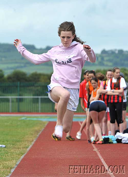 Kate Quigley, Fethard, competing in the girls under-14 long jump