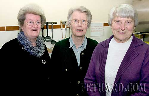 Photographed at the Augustinian Abbey party for helpers were L to R: Mary Fitzgerald, Berney Myles and Joan Anglim