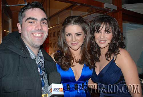 Ian O'Connor, St. Patrick's Place, photographed with Sile Seoige and Gráinne Seoige (right) at the Meteor Music Awards at the RDS last week