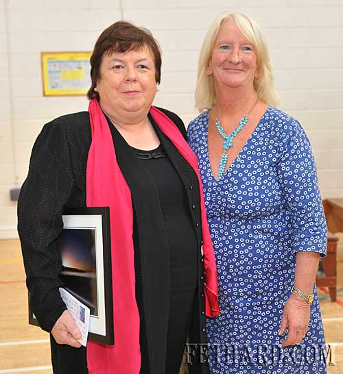 Margaret Brown, President IBOA, special guest speaker and past pupil, photographed with Marian Gilpin, Deputy Principal, at the awards ceremony. Margaret and Marian attended school together in the Presentation Secondary School Fethard.