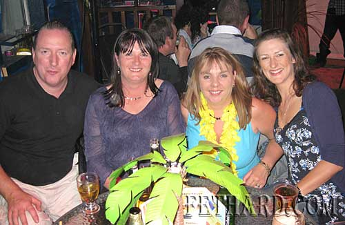 Photographed at Lonergan's 'Beach Party' last weekend were L to R: John Carroll, Caroline Flanagan, Roseanne Carroll and Barbara Gras.