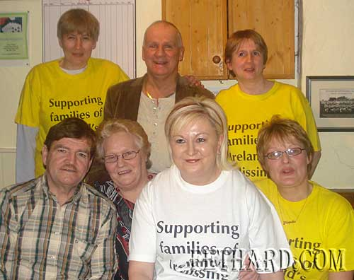 "Mr Tosh Lavery of ""Missing in Ireland Support Service"", photographed at the Benefit Night in the Castle Inn on Friday 6th February, with members of the local support group. Back L to R: Patricia Breen, Tosh Lavery, Monica Pollard. Front L to R: Kathleen Connolly, Irene Sharpe and Majella Drea."