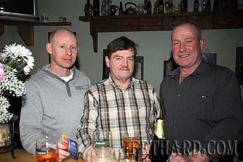 Photographed at the Benefit Night for 'Missing in Ireland Support Service' at The Castle Inn are L to R: Christopher Mullins, Brud Roche and John Pollard.