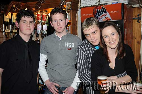Photographed at the Benefit Night for 'Missing in Ireland Support Service' at The Castle Inn are L to R: Ross Blackett, Paul Kenrick, Darren Sharpe and Anna Baker.