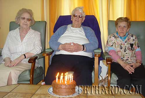 Three local 'Birthday Girls' photographed at Fethard & District Day Care Centre last week. L to R: Margaret Croke, Maggie Sayers and Johanna Corbett.