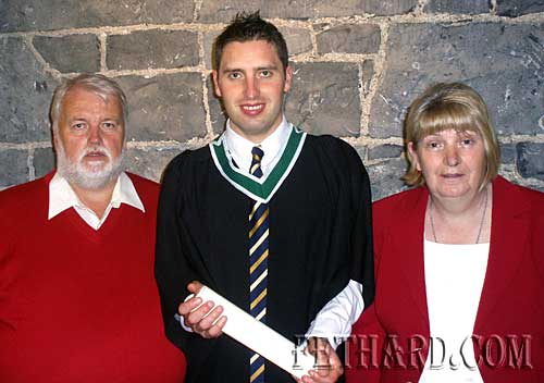 Brian Kenny, St. Patrick's Place, Fethard, photographed with his parents Brendan and Mary, at his Graduation with an Honours Degree in English and History at NUI Galway.