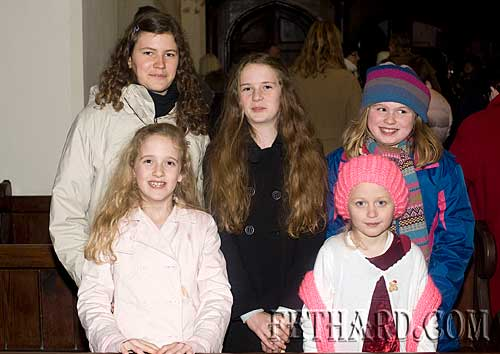 Photographed at the Annual Carol Service at Holy Trinity Church on Sunday 20th December are Back L to R: Anne Schlueter, Caroline Stokes, Dorothy Wall. Front L to R: Zoë Stokes and Annica O'Connor.