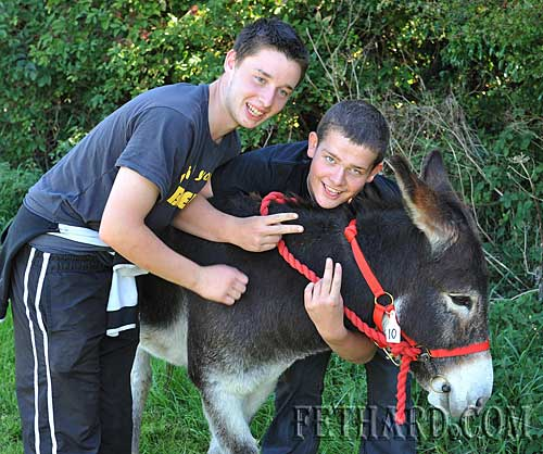 L to R: Andrew Maher and Colin Meagher preparing for the Donkey Derby