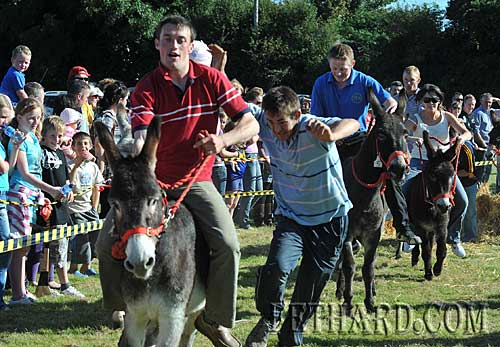 Conor O'Donnell gets a helping hand at the Donkey Derby