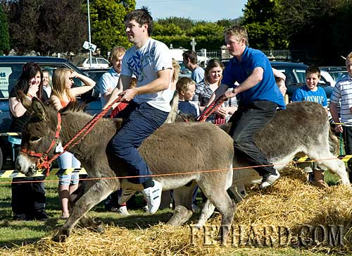 Darren O'Meara riding for Burkes Pub, one of the winners in the Donkey Derby
