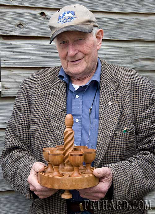 Johnny Sheehan showing some of his new woodturning craft items he is making to sell at the Fethard Town Wall Medieval Festival on Sunday 23rd August. Johnny is now 84 years of age and is still producing beautiful work from his home in St. Patrick's Place.