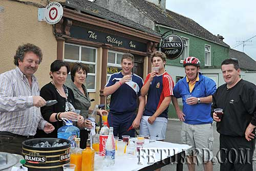 The Village Inn, Moyglass, was the 'pit stop' for cyclists on their sponsored run in aid of Fethard Youth Centre last Sunday. Proprietor Matthew Tynan, his daughter Marguerite and wife Mary are photographed outside their premises serving welcome refreshments to the cyclists as they arrived. L to R: Matthew, Marguerite and Mary Tynan, Sam Manton, Matt O'Sullivan, Barry Connolly and Richard Hayes