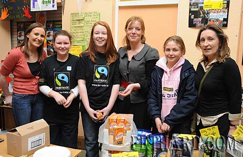 Photographed at the Nano Nagle National School's 'Challenge to Change' project highlighting the sale of Fairtrade and 'Sharing Fair' goods are L to R: Ms Denise Meehan, Niamh O'Meara, Molly Proudfoot, Ms Lorraine De Lacey,Hanna Tobin and Ms Rita Kenny.