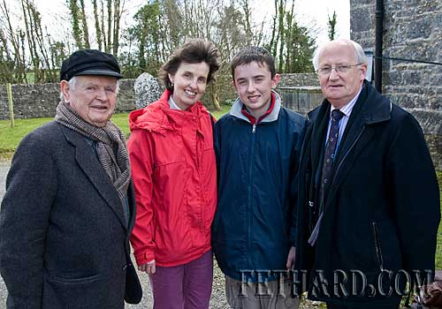 Photographed at the Annual Famine Service held at                        Magorban Church of Ireland are L to R: Jim Trehy, Alice Walsh, Patrick Walsh and Billy Kingston