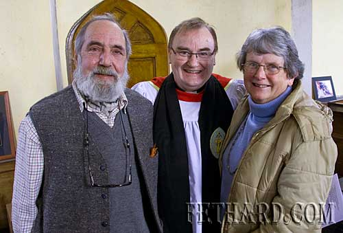 Photographed at the Annual Famine Service held during Lent in Magorban Church of Ireland are L to R: Terance O'Malley, Dean Philip Knowles and Patricia O'Malley