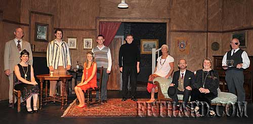 Fethard Players cast of 'Any Number Can Die' photographed on stage after their very succesful six-nights performance in the Abymill Theatre. L to R: John Fogarty, Mia Treacy, Matt O'Sullivan, Deirdre Dwyer, Pat Brophy, Jimmy O'Sullivan, Marian Gilpin, Colm McGrath, Anne Connolly and Gerry Fogarty. The play was produced by Austin O'Flynn.