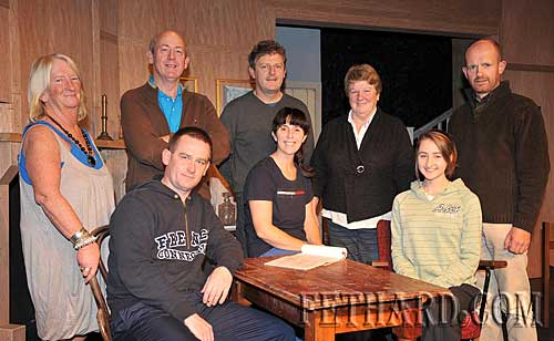 Fethard Players photographed at rehearsal for their oncoming comedy production of 'Any Number Can Die' which will be staged in the Abymill Theatre from Friday 6th November to Wednesday 11th November inclusive. Standing L to R: Marian Gilpin, John Fogarty, Jimmy O'Sullivan, Ann Connolly, Colm McGrath. Seated L to R: Pat Brophy, Mia Treacy and Deirdre Dwyer. Also in the cast are Gerry Fogarty and Matt O'Sullivan. The play is produced by Austin O'Flynn. Booking now at O'Flynn's, Burke Street, Fethard. Tel: 052 6131254 or 087 1338961.