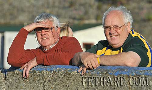 Fethard GAA stalwarts Sean Moloney and Miceál McCormack photographed at the senior hurling championship match in Fethard last weekend.