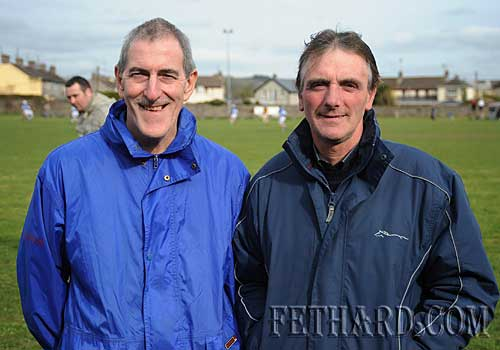 Photographed at the Intermediate Hurling League 'B' game between Fethard and Arravale Rovers in Fethard are L to R: Jim McGrath and Martin O'Connor