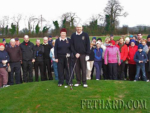 "Slievenamon Golf Club Captains, Ian Gough and Mary Kenrick, about to ""Drive In"" for their year in office at Slievenamon Golf Club. Photo taken on New Year's Day"