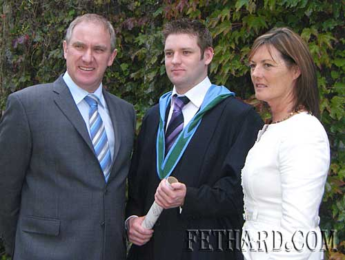 Cian Moloney, Prospect, Fethard, photographed with his parents, Maurice and Ann, on the occasion of his Graduation from UCC with Honours Degree of Bachelor of Science in Environmental Science and Zoology.