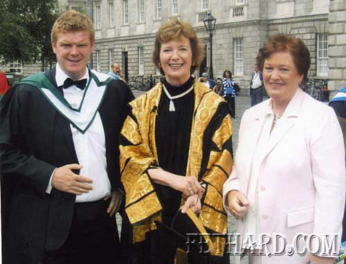 Congratulations to Alan O'Meara, who was recently conferred with a Masters in Science Technology and Learning from Trinity College Dublin. Alan is the youngest son of Nora and the late Michael O'Meara, St. Patrick's Place, Fethard. L to R: Alan O'Meara, Mary Robinson (former President of Ireland and Chancellor of Trinity College) and Nora O'Meara.