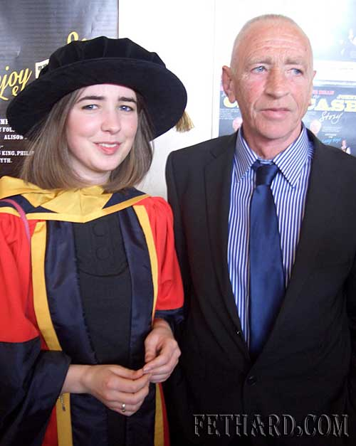 Dominic Morrissey, formerly from Main Street (beside Post Office), photographed with his daughter Saibh, who was recently awarded a Doctor of Philosophy degree by DCU.