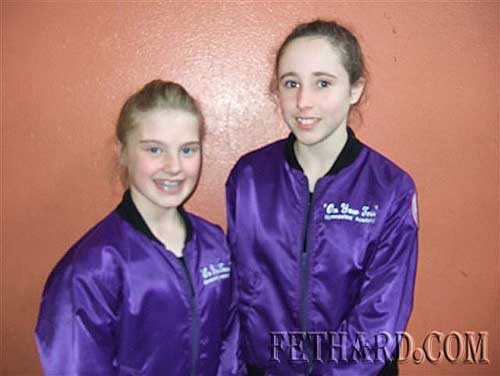 Zoë Maher, Ballybough, and Aobh O'Shea, The Valley, who both competed in the County Final of Tipperary Community Games Gymnastics on Bank Holiday Monday in Tipperary Town.