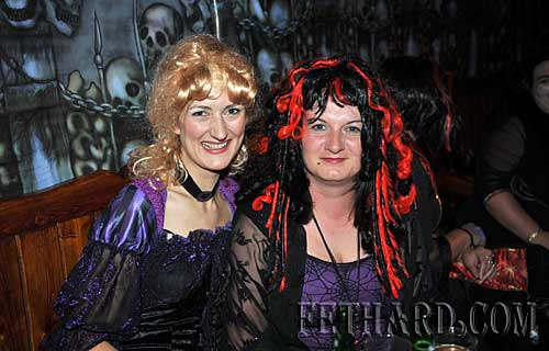 At the Halloween Party in Lonergans were L to R: Barbara Gras and Caroline Flanagan