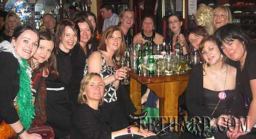 Bride to be, Sue Gaskin, photographed with friends at her 'hen party' that ended up at Butler's Bar, Fethard.