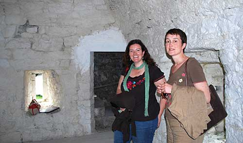 South Tipperary  Heritage Officer, Labhaoise McKenna (left) and Amanda Pedlow from Offaly investigate the interior of the Tower.