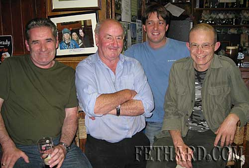 Photographed at McCarthy's Hotel are L to R: Rory O'Connor, home on holidays from San Francisco, Tom Purcell, Vincent Murphy and Fintan Rice.