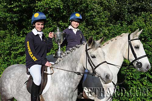 Winners of the Tom O'Connor & Eugene Martin Perpetual Challenge Cup for the 'Leading Tipperary Pair' at the recent Hunter Trial Championships held in Ballon, Co. Carlow. L to R: Leanne Sheehan on 'Cobain' and Sadhbh Sweeney on 'Penny'