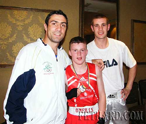 Olympic silver medalist Kenny Egan, Irish gold medalist Jack Connolly, and European union gold medalist Con Sheehan, at the fight night, halloween night at the Clonmel Park Hotel, run by Clonmel Boxing Club, at which Jack won the 52kg fight against Stephen Moylan from Dungarvan by a unanimous decision.