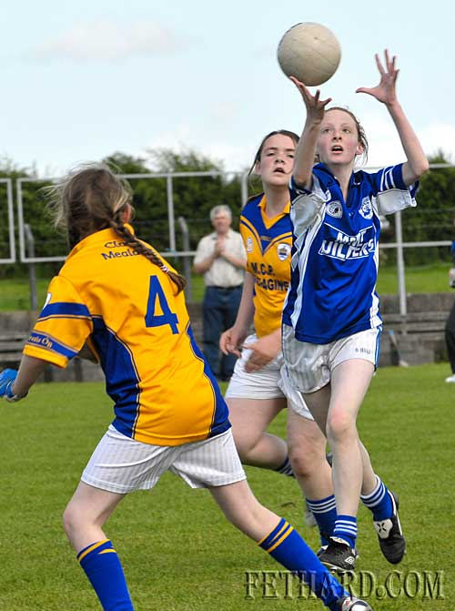 Annie Prout catches a high ball before scoring a point for Fethard