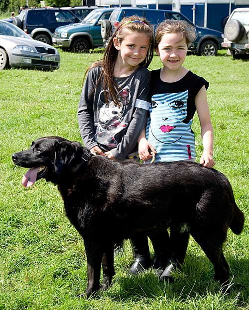 Leah Coen and Anna Walsh with their dog 'Lucy' at Killusty Dog Show