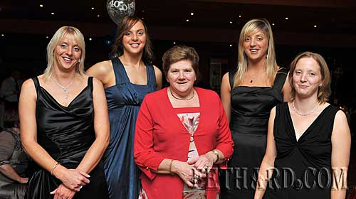 Annette (Coen) Healy photographed with her four daughters at the Killusty Soccer Club's 40th anniversary dinner dance held last weekend in Clonmel. L to R: Claire, Ann-Marie, Annette Healy, Sarah and Denise.
