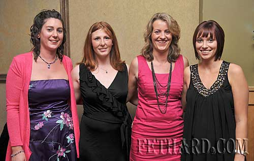 Photographed at the Killusty Soccer Club's 40th anniversary dinner dance held last weekend in Clonmel are L to R: Georgina O'Flaherty, Pauline Millea, Bernie Horan and Deirdre McEvoy.