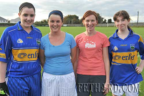Fethard Junior ladies football team members in training for their first ever county final next week L to R: Louise O'Donnell, Bernadette O'Meara, Sandra Spillane and Amy Pollard.