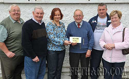 The GAA €10,000 Lotto Jackpot was won this week. Congratulations to Martha Williams, Killusty, Fethard, on winning. Photographed at the presentation of cheque were L to R: Gus Fitzgerald, Jim Williams, Martha Williams, Nicky O'Shea, Denis O'Meara and Mary Godfrey.