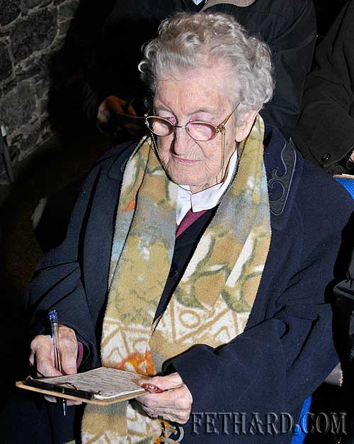All the Nines — 99, a very relevant call for Mary Hennessy from Killenaule who was photographed last Thursday night playing Bingo in the Abymill Theatre in Fethard. Mary is 99 years of age and will celebrate her 100th birthday this week. Congratulations from all your friends in Fethard Mary!
