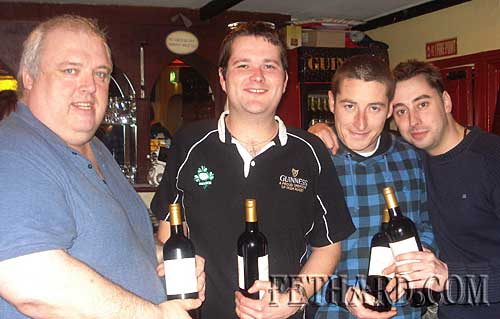 Photographed above are the winning team of the table quiz held in Butler's Bar last week in aid of the 'Missing in Ireland' support service. L to R Davy Maher, Owen White, Philly Croke and Alan Powell. Organisers Monica Pollard and Patricia Breen would like to say a big thank you to everyone who supported the table quiz. A total of €520 was raised. Thanks also to those who donated spot prizes and to Anne and Philip Butler for their help in running the quiz and sponsoring 1st prize.