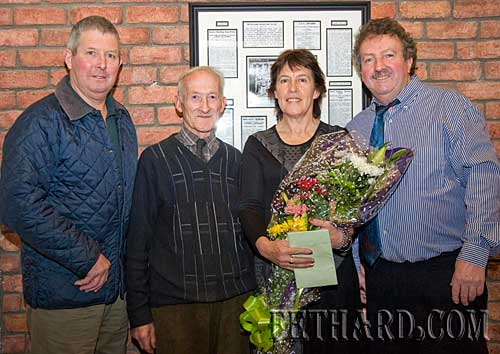 A presentation was made to Mary and Matty Tynan last weekend in Moyglass to recognitation of their effort and work in researching and organising the function that honoured the Moyglass senior hurlers, South Champions 1934, which was sincerely appreciated by the families of the original team. L to R: Derry O'Dwyer, Mick O'Neill, Mary Tyanan and Matty Tynan.