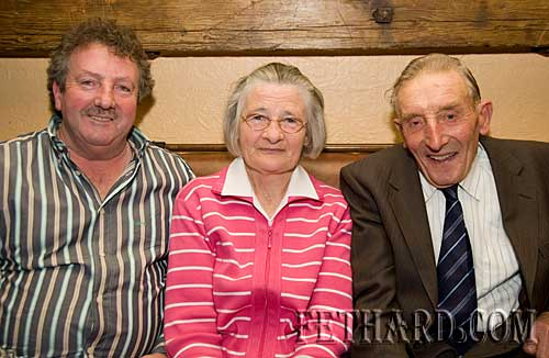 Photographed at the celebration to honour the 75th anniversary of Moyglass senior hurlers victory in the south championship of 1934 were L to R: Matty Tynan, Nancy Fanning and Tom Fanning